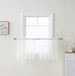 HLC.ME Ivory Window Curtain Sheer Voile Panels for Small Windows, Kitchen, Living Room and Bedroom (54 x 36 inches Long, Set of 2)