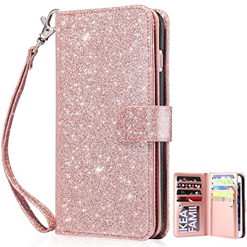 Dailylux iPhone 8 Case, iPhone 7 Wallet Case,Premium PU Leather+TPU inner shell Flip Case With 9 Card Slot Luxury Bling Cover for Apple iPhone 7/8 4.7 inch Women/Girls-Glitter Rose Gold