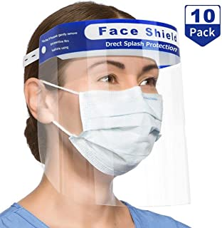 Safety Face Shield, MKBOO 10 PCS Full Face Protect Eyes and Face Plastic Face Shield Anti-Saliva Windproof Dustproof Safety Face Shield with Eye & Head Protection For Women Men