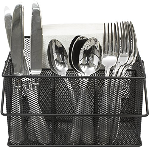 Sorbus Utensil Caddy — Silverware Napkin Holder and Condiment Organizer — Multi-Purpose Steel Mesh Caddy—Ideal for Kitchen Dining Entertaining Tailgating Picnics and Much More Black