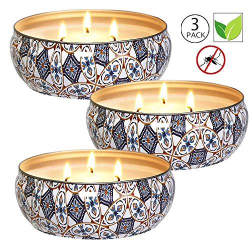 Citronella Candles Outdoor, 12 oz - Natural Scented Soy Wax Candles Travel Tin, 3 Wick Candles with 75 Hours Burning Time- 3 Pack