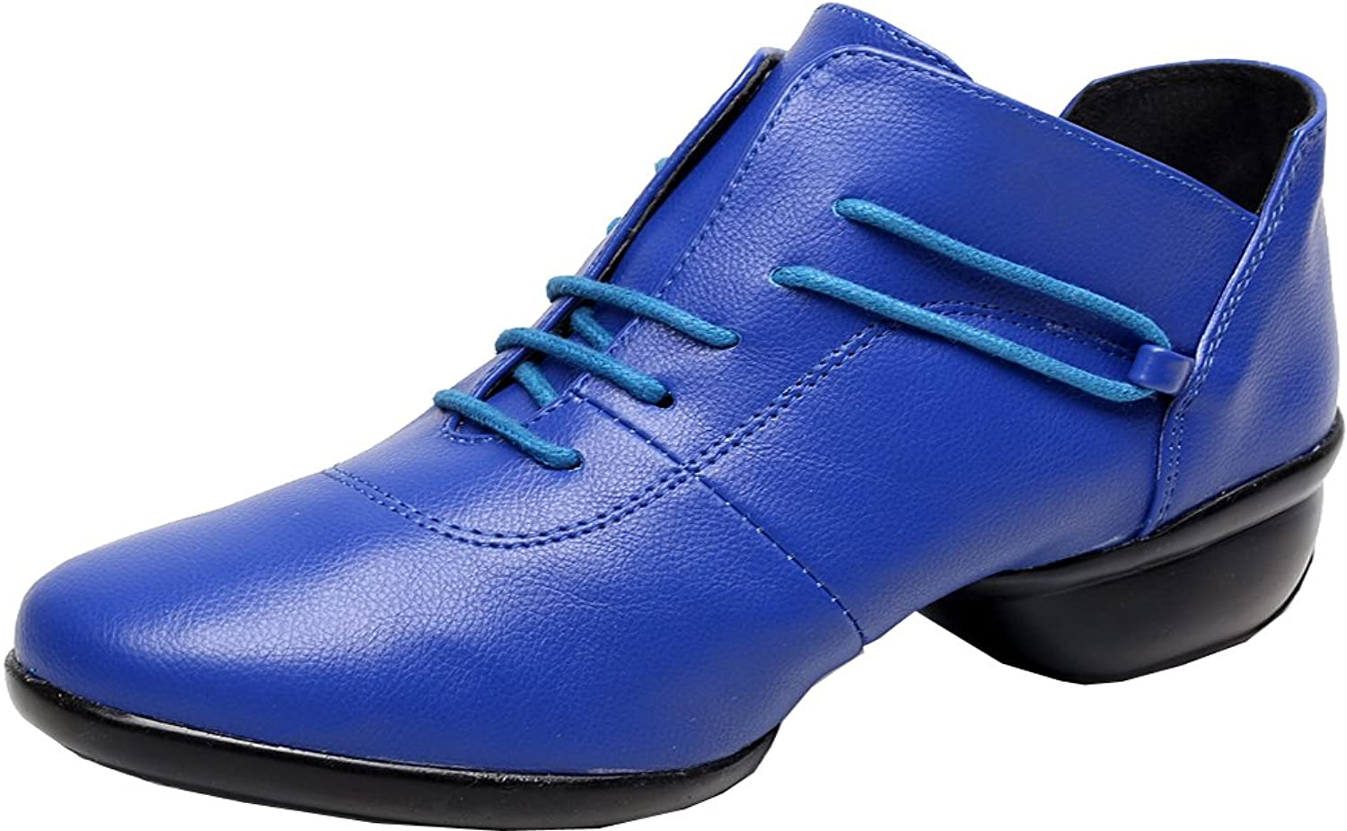 Abby 1002 Womens Low Top Jazz Practice Dance shoes Round Toe Lace Up Flat Split Sole PU Sneakers