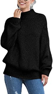 Women's Casual Turtleneck Chunky Sweater Batwing Sleeve Knitted Pullover