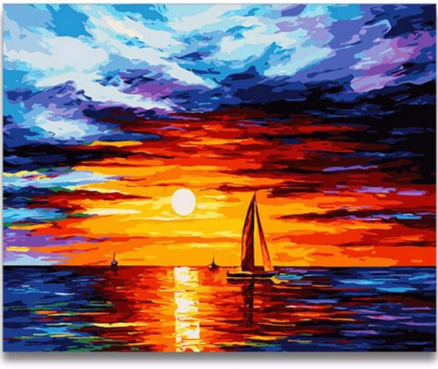 LIWEIXKY Sea Boat Diy Painting By Numbers Landscape Painting Calligraphy Acrylic Paint By Numbers For Home Decor Artworks, Framed, 50x60cm