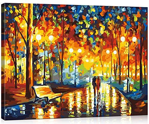 Suntown Holzrahmen Malen nach Zahlen 40 x 50cm DIY Leinwand Gemälde für Erwachsene und Kinder mit 3 Bürsten und Acrylfarben - Du und ich (Leinwand ist Vormontiert)