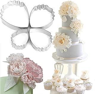 Honmofun Peony Flower Cutter Petal Fondant Sugarcraft Cake Cookie Cupcake Maker for Kids Cutter Babycakes Cupcake Maker for Girls Cupcakes Maker Biscuit Cutter Set 4 PCS