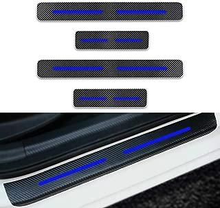 MAZDA マツダ CX-3 / CX-5 / RX-8 SE3P / MPV LY3P /アクセラ/アテンザ/デミオ/ロードスター 新型繊維 ドア サイドキズ 防止 スカッフプレート 保護 ステッカー(4個)ブルー