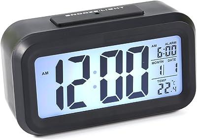 zjchao Reloj LED Digital Alarma Despertador Dormido activada Sensor de luz registra Tiempo Fecha Temperatura (