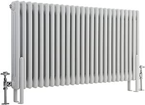 Hudson Reed - Regent - Crisp White Horizontal 3-Column Radiator With Traditional Cast-Iron Style - 23.5