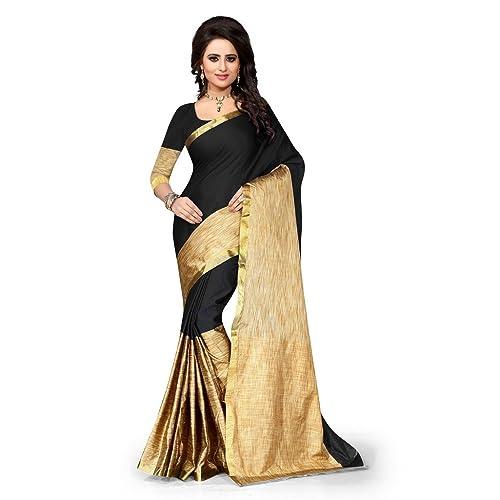 ecfa34728a Shree Sanskruti Banarasi art silk with Blouse Piece Saree (Aura_Black_ Free  Size)