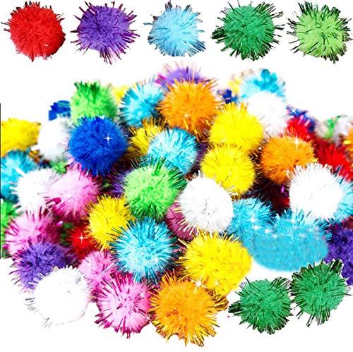 Liuer 2000PCS PON PON Colorati 10mm Glitter Mini Pom Poms Pompon Hobby e Fai da Te Creativo Crafts Mestieri Decorazione Articoli Artigianali di Natale per Bambini