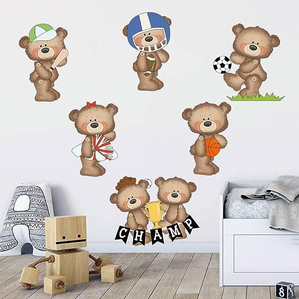 Decalmile Sports Bears Wall Stickers Boys Wall Decals Baby Nursery Kids Bedroom Playroom Wall Decor