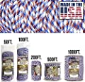 TOUGH-GRID 750lb Patriot Paracord/Parachute Cord - Genuine Mil Spec Type IV 750lb Paracord Used by The US Military (MIl-C-5040-H) - 100% Nylon - Made in The USA. 200Ft. - Patriot