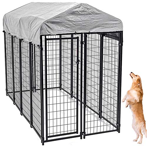 Large Dog Kennel Outdoor, Extra Large Dog Crate Metal Welded Pet Cage Heavy Duty Playpen with UV Protection Waterproof Dog Kennel Cover, Keeps Pet Cool, Warm, Dry, Comfortable - 71''H x 89''L x 45''W