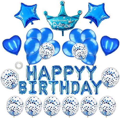 風船 誕生日 飾り付け Happy Birthday バルーン パーティー 装飾 きらきら風船 パーティー お祝い男の子と女の子用 ブルー
