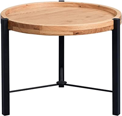 IKAYAA Table dextr/émit/é Tables Basses Ronde en m/étal Bouts de canap/é pour Salon int/érieur ext/érieur lit Chambre Patio 52 * 44 * 44 cm Blanc Noir Vert Jaune