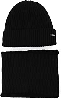 Jeff & Aimy Wool Visor Beanie for Men Winter Knit Hat Scarf Sets Neck Mask