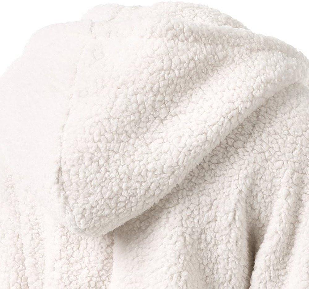 KPPONG Winterjacke Plüschjacke Damen Reißverschluss Pullover,Klassische Einfarbig Plüschjacke Fleecemantel Flauschig Teddy Mantel Warm Kapuzenjacke Parka A-weiß