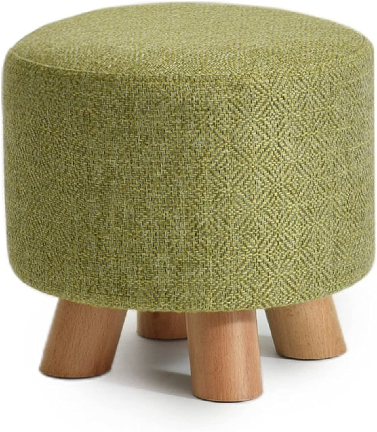 Fashion Solid Wood shoes Stool Round Upholstered Footstool Sofa Low Stool Footrest Small Seat Foot Rest Chair Green (color    1)