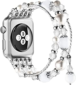 Simpeak Beaded Fashion Band Compatible with Apple Watch 42mm 44mm Series 6 SE 5 4 3 2 1, Handmade Beaded Elastic Women Bracelet Replacement for iWatch 42 44, Fixed Size 5.7-6.9, White