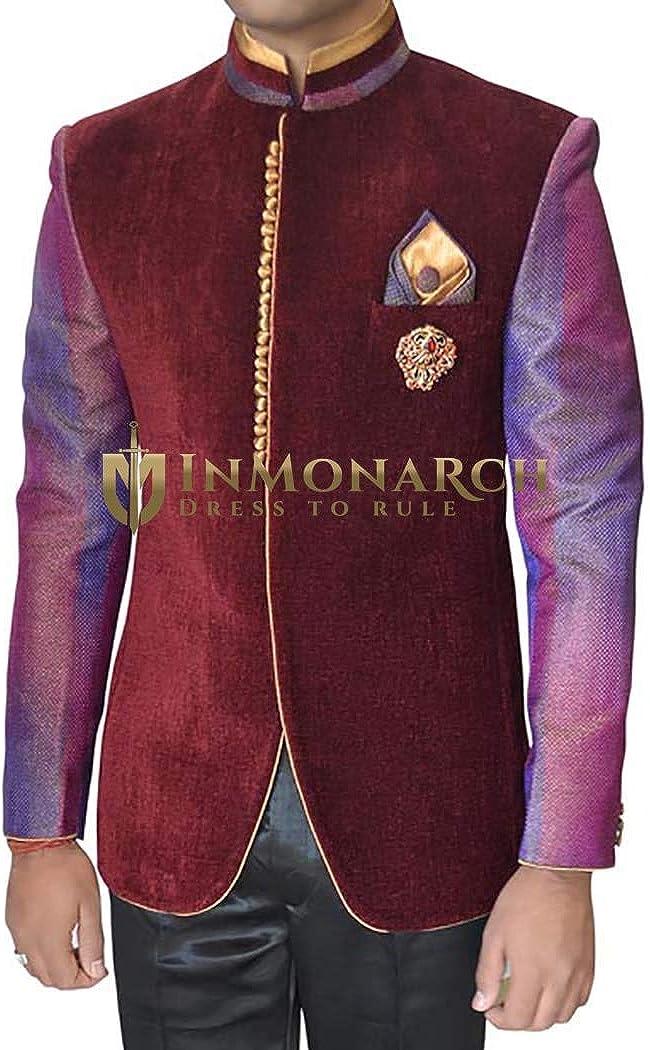 INMONARCH Mens Maroon 4 pc Jodhpuri Suit Concealed Button TX11235XL48 48 X-Long Maroon