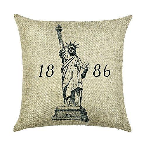 hengjiang Vintage City Serie Pisa New York London Paris Rom Home Kissenbezug Baumwolle Bettwäsche Kopfkissenbezug Quadratisch Retro Doppelseitig Kissen Statue of Liberty 09