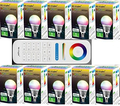 10x FUT013 6Watt E14 RGB+CCT Birne 1x Fut089 8Zonen FB 2,4G original MILIGHT¨ Produkt