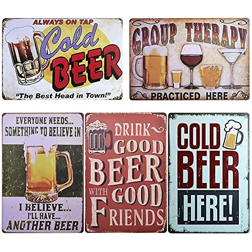 TIE-DailyNec - 5 piezas letreros de metal de estaño vintage de cerveza,...