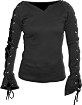 Spiral Womens - Gothic Elegance - Laceup Sleeve Top Black