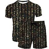 Summer Plus Size Men 3D Tshirt + Shorts Set Casual Hip Hop Sportswear para Hombres Gradiente de Rayas Negras XXL