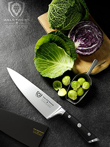 DALSTRONG Chef Knife - 8' - Gladiator Series - Forged ThyssenKrupp High Carbon German Steel - Full Tang, Black Pakkawood Handle