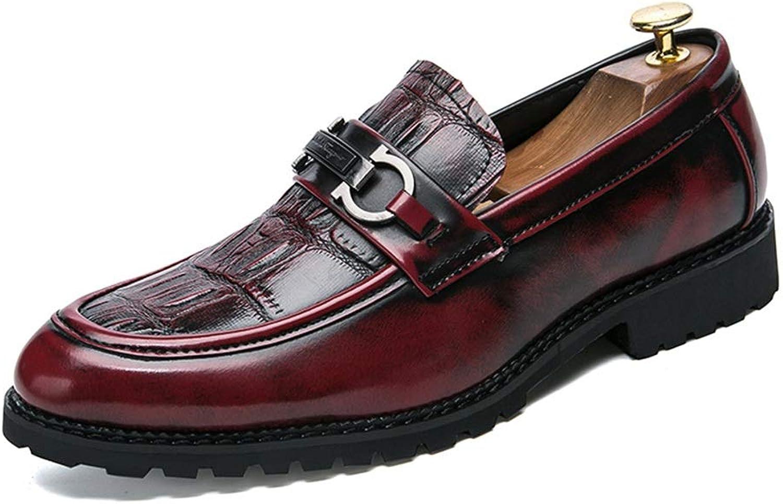 Ying xinguang xinguang xinguang Lässige Dicke untere Frontkrokodil-Muster-Metallknopf-Formale Schuhe der Männer Geschäfts-Oxford (Farbe   Rot, Größe   38 EU) d17985