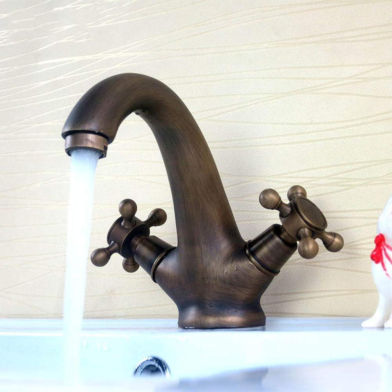 YHEGV Wasserhahn Retro Rot Bronze Kupfer Einlochmontage hei unter der Theke Waschbecken Wasserhahn Bad