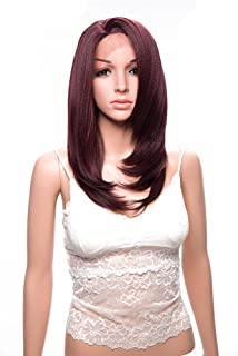 Red Wig Synthetic Lace Front Wigs for Women Yaki Straight L Part