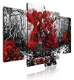 DekoArte 273 - Cuadros Modernos Impresión de Imagen Artística Digitalizada | Lienzo Decorativo Para Salón o Dormitorio | Estilo Paisaje Blanco y Negro con Árboles Rojos Naturaleza | 4 Piezas 120x90cm
