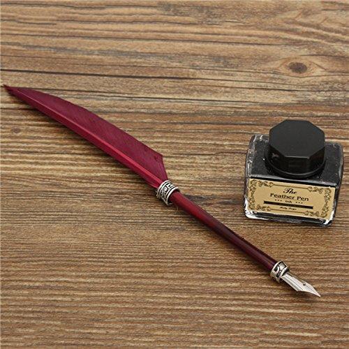 Tutoy Alt Alt Alt Schwan Feather Federn Metall Pen Schwarz Schreibschrift Set Präsent - Rot