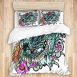 KENADVI Juego de Funda nórdica,Libro para Colorear de Tatuaje de dragón asiático a Todo Color con Fondo de Estilo japonés,Juego de Ropa de Cama Suave de Lujo de 3 Piezas,tamaño Doble (sin edredón)