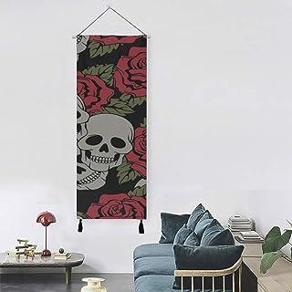 Festival de moda gótica Rose Flowers Skull Kids Art Hanging Wall Decoraciones de pared para el hogar 13 pulgadas de ancho X 47 pulgadas de largo Decoración moderna para el hogar Adornos para colgar e