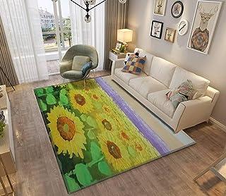 Area Rug and Carpet for Home Living Room, Sunflower flower blossom Oil painting of a rural sunset landscape Large Anti Sli...