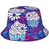 Elxf Unisex Cupcake Pattern Print Travel Bucket Hat Summer Fisherman Cap Sun Hat Black
