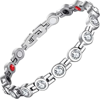 Feraco Sparkling Cubic Zirconia Magnetic Bracelet for Women Arthritis Pain Relief Health 4 Element Magnet Therapy Bracelets