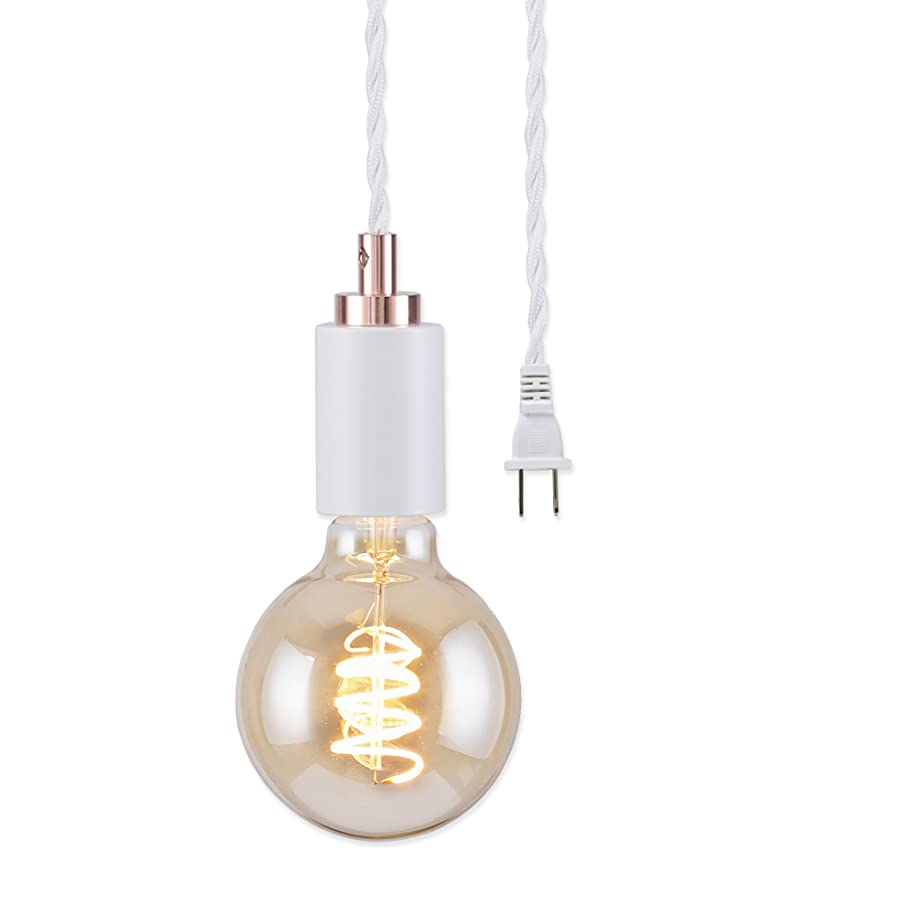 BRIGHTTIA Simple Top Plug-in Mini 1-Light Pendant, Minimalist Exposed Bulb Design, White with Rose Gold Top Cap, 16.4' Braided White Fabric Cord with in-Line On/Off Switch, BP0005-1AP