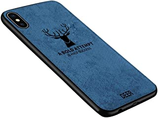 Apple iPhone XS Max Anti-fall Wear-resistant Cotton Cloth Pattern  Elk Washable Protective Cover TPU Phone Case
