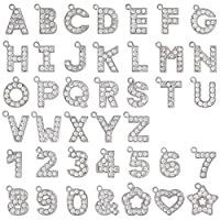 アルファベットラインストーンチャーム PE128 クローム 1個パック (カニカンC25付) (N)