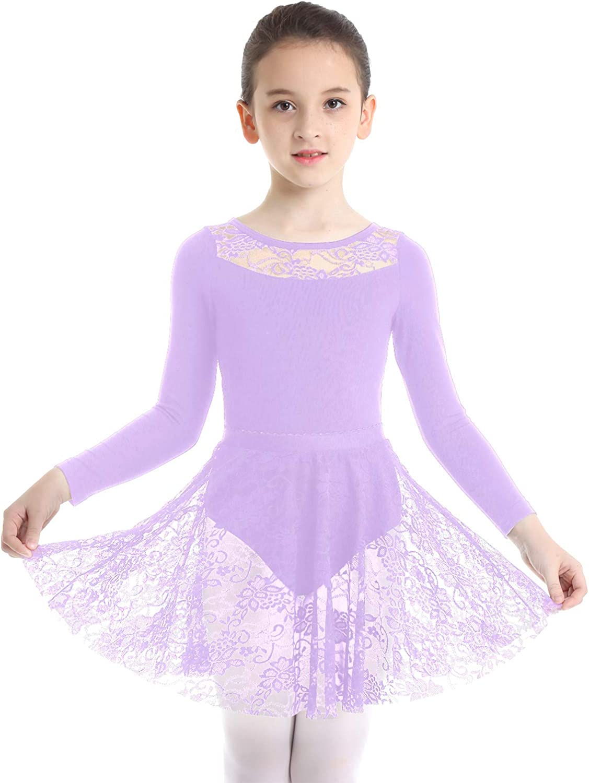 Kaerm Enfant Fille Justaucorps de Danse Ballet Dentelle Combinaison de Gymnastique Patinage Body Dos Nu Manches Courtes 3-12 Ans