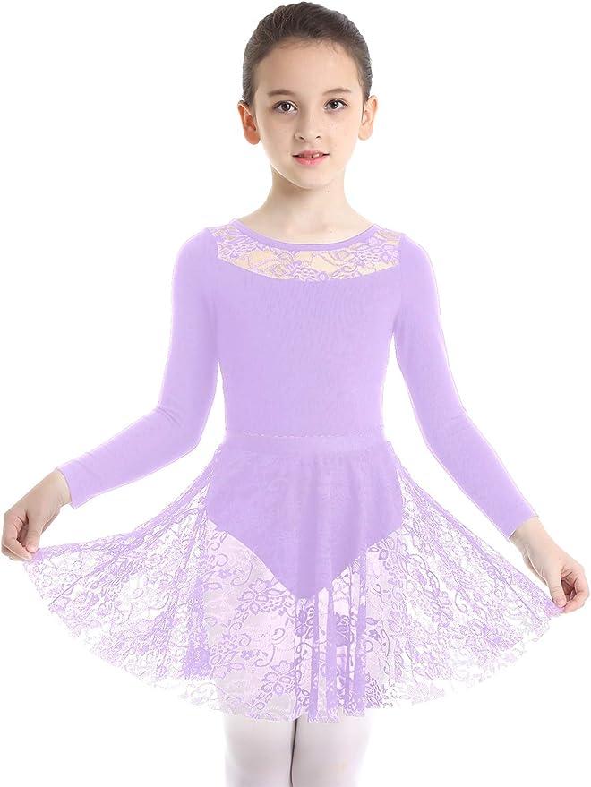 inhzoy Enfant Fille Justaucorps de Danse Tutu Robe Ballet Body Gymnastique L/éotard Sport Patinage Robe Princess Combinaison Danseuse Costume Ballerine Performance 2-12 Ans