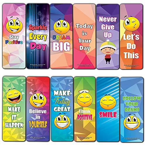 Creanoso Positive Sayings Emoji Bookmarker Cards (60-Pack) – Premium Gift Set – Awesome Bookmarks for Boys, Girls, Children – Six Bulk Assorted Bookmarks Designs – School Incentives – Wall Decal