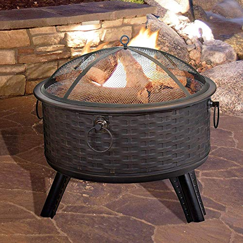 FMXYMC Cast Iron Fire Pit Wood Burning, Outdoor Heater Fireplace, Round Deep Fire Pit Bowl, with Mesh Screen Spark/Lift Hook/Cover, Bronze