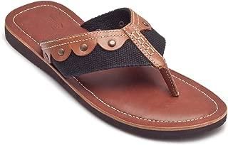 tZaro Tan &Black Genuine Leather Slipper - Vagator 1902