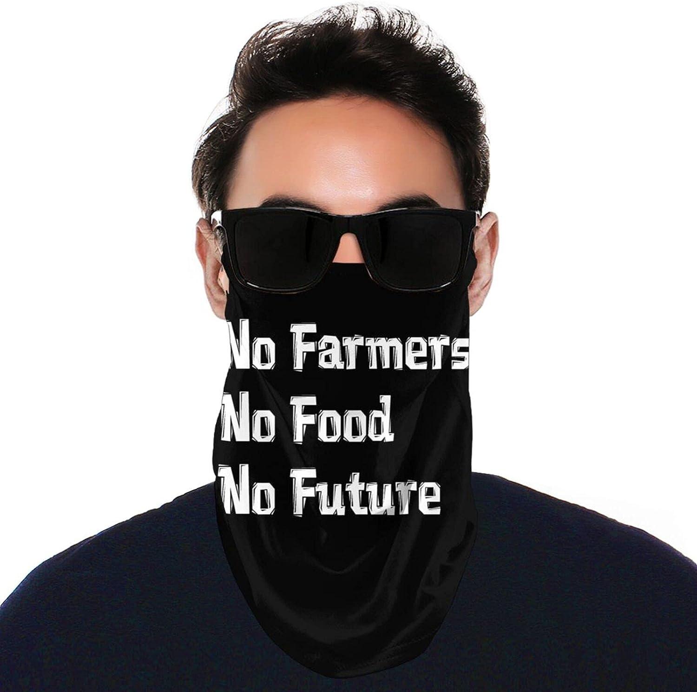 AIMILUX Men and Women Neck Gaiter Anti-Dust Washable No Farmers No Food No Future 5 Black